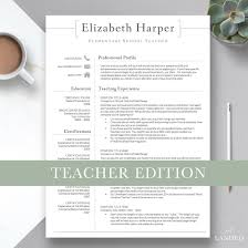 Teacher Resume Template For Word Pages Teacher Cv Template Elementary Resume Teaching Resume Administration Resume Instant Download