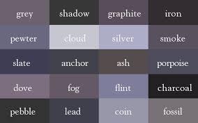 Graphite Grey Colour Chart Grey Shadow Graphite Iron Pewter Cloud Silver Smoke