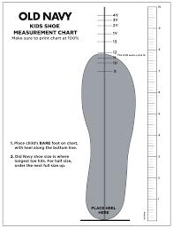 Kids Shoe Size Chart Printable Old Navy Kids Shoe Measurement Chart Printable Pdf Download