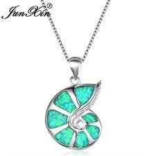 junxin mystic fire opal necklace female 925 sterling silver green purple white blue opal conch pendants for women rainbow choker