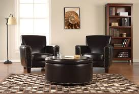 modern chair ottoman round black leather ott with storage under the seat placed white chair and interior brown rug plus sofa chairs wooden flooring