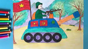 Vẽ chú bộ đội | Vẽ tranh đề tài bộ đội | Vẽ tranh chú bộ đội cụ Hồ | Vẽ chú  bộ đội lái xe tăng