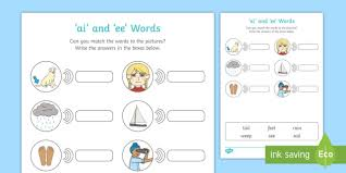 Make learning fun and easy with these great learning tools. Ai And Ee Sounds Matching Activity Worksheet