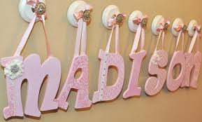 flower petals leaf patterns pink baby name letters for nursery wall ribbon hanger white bracket