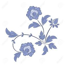 Floral Embroidery Designs Vector Vintage Floral Embroidery Pattern Vector Peony Blue Flower Ornament