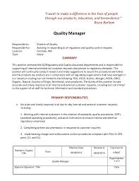 Job Description Quality Manager