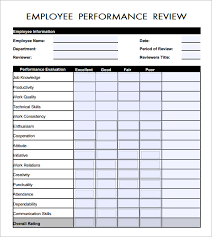 Job Performance Evaluation Form Templates Job Review Form Ohye Mcpgroup Co