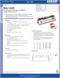 Emergency Lighting Test Sheet Bal1400 Fluorescent Emergency Ballast 1100 1400 Lumens