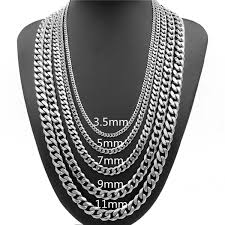 3.5/5/7/9/<b>11mm</b> Men's 925 Silver Titanium Steel Necklace Men's ...