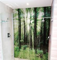 showerline frameless shower with printed glass splachback