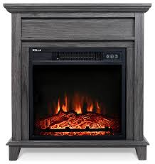 18 inch electric fireplace grey wooden mantel
