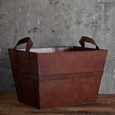 leather storage basket