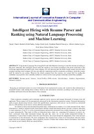 Intelligent Hiring With Resume Parser And Ranking Using Natural Langu Delectable Resume Parser Php