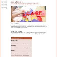 Poem About Curriculum Design Lesson 9 Students Brainstorm Individual Poems Lesson Plan