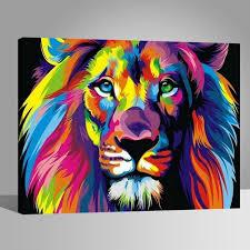 Lion coloré Peintures-DIY-40x50cm-avoir DIY peinture cadre-Toile ...