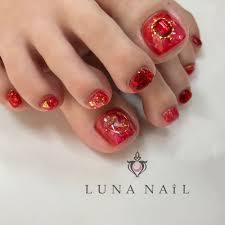 赤フットネイル Luna Nailルナネイルのネイルデザイン ネイル