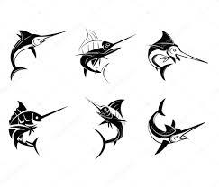 татуировка рыбы символ тату рыбы марлин векторное изображение