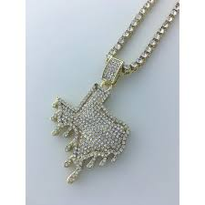 iced out dripping texas pendant necklace