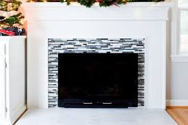 marble and glass fireplace tile