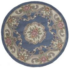 lotus chinese round rug blue