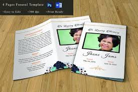 Memorial Program Stunning Funeral Program Template Memorial Program Obituary Etsy