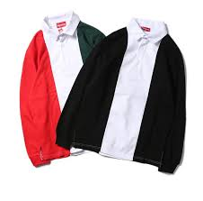 18ss luxury brand couple long sleeve stitching red white black polo shirt large size autumn long sleeve pullover new trend shirt free ship er leather