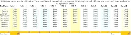 Table Of 10 Seating Plan Template Tellers Me