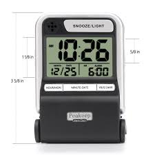 peakeep ultra compact battery travel alarm clock with calendar ascending beep a hover to zoom