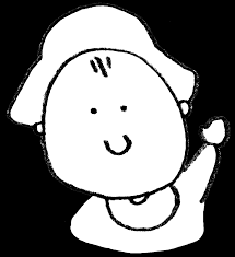 かわいく笑う赤ちゃんの手書きイラスト えんぴつと画用紙