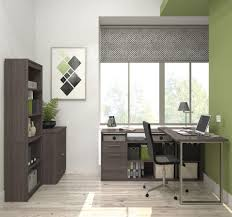 solay bark gray l shaped desk with lateral file and bookcase from bestar coleman furniture