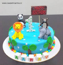 Animals Theme Small Customized Designer Fondant Cake For Boys 1st