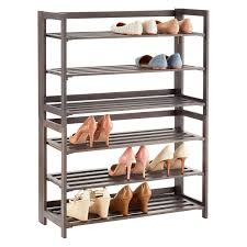 Shoe Organizer 3 Tier Driftwood Folding Shoe Rack The Container Store