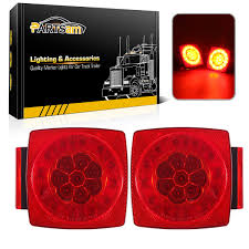 Trailer Lights Not Working On One Side Partsam 12v Led Trailer Light Kit Halo Glow Submersible Square Tail Lights Kit Left Right Turn Stop Signal For Under 80 Inch Boat Trailer Rv Camper