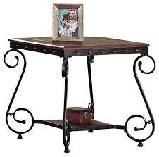waneta cherry beading design metal frame glass top wood shelf side end table