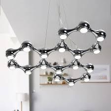 led chandelier light black silver modern dna led pendant lamp chandelier suspension molecule lamp hanging lighting drop light 100 guarantee hanging