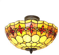 15 5 tiffany style stained glass semi flush mount ceiling lamp