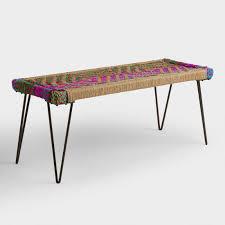 woven metal furniture. woven chindi metal bench furniture n