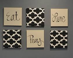 eat pray love wall art pack of 6 canvas wall hangings hand painted fabric upholstered dining on food and drink canvas wall art with items similar to eat drink be merry wall art pack of 6 canvas wall