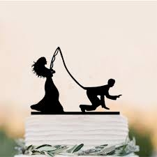 Funny Wedding Cake Topper Bride Fishing Groom Cake Toppers With Dog