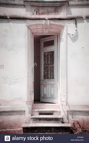 character open old front door and three steps insram effect stock image