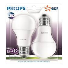 Philips Pack Of 2 Led Light Bulbs E27 Large Screw Base 8w Consumption 60w Equivalent Partnership Philips Edf
