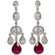 magnificent costume jewelry ruby shimmering girandole chandelier earrings for