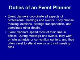 Duties Of An Event Planner Event Planning Research By Rowland Ajaluwa Event Planning