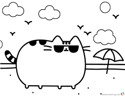 Pusheen Coloring Pages Sun Glasses And Beach Free Printable