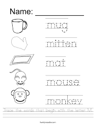 Trace the words that begin with the letter M Worksheet - Twisty Noodle
