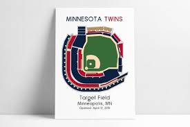 Twins Stadium Seating Chart Minnesota Twins Baseball Map Mlb Stadium Map Ballpark Map Baseball Stadium Map Gift For Him Stadium Seating Chart Man Cave