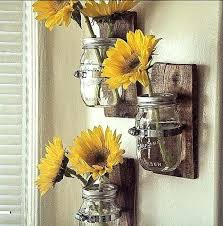sunflower wall decor hanging vase cottage chic mason jar by for kitchen sunflower wall decor glass full of sunflowers by diy  on diy sunflower wall art with sunflower wall decor fantastic metal art picture collection and diy