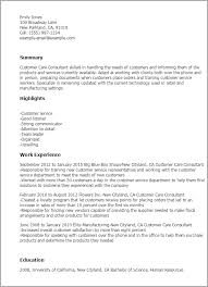 Resume Templates: Customer Care Consultant
