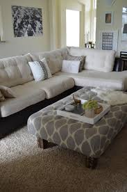captivating living room design tufted. Furniture Inspiration Sumptuous Two Tone Sectional Tufted Sofa White And Black Vinyl Materials As Well Grey Upholstery Tray Desk In Small Space Living Room Captivating Design V