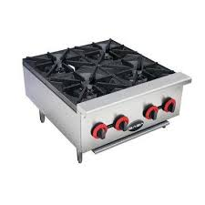 commercial gas hotplate cooktop in stainless steel with 4 burners